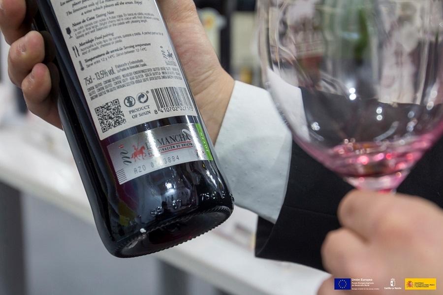 Tirilla de vino joven de la Denominación de Origen La Mancha