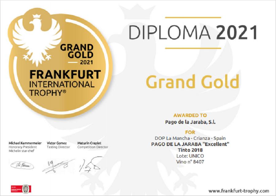 Diploma Gran Oro en el Frankfurt International Trophy Pago de La Jaraba