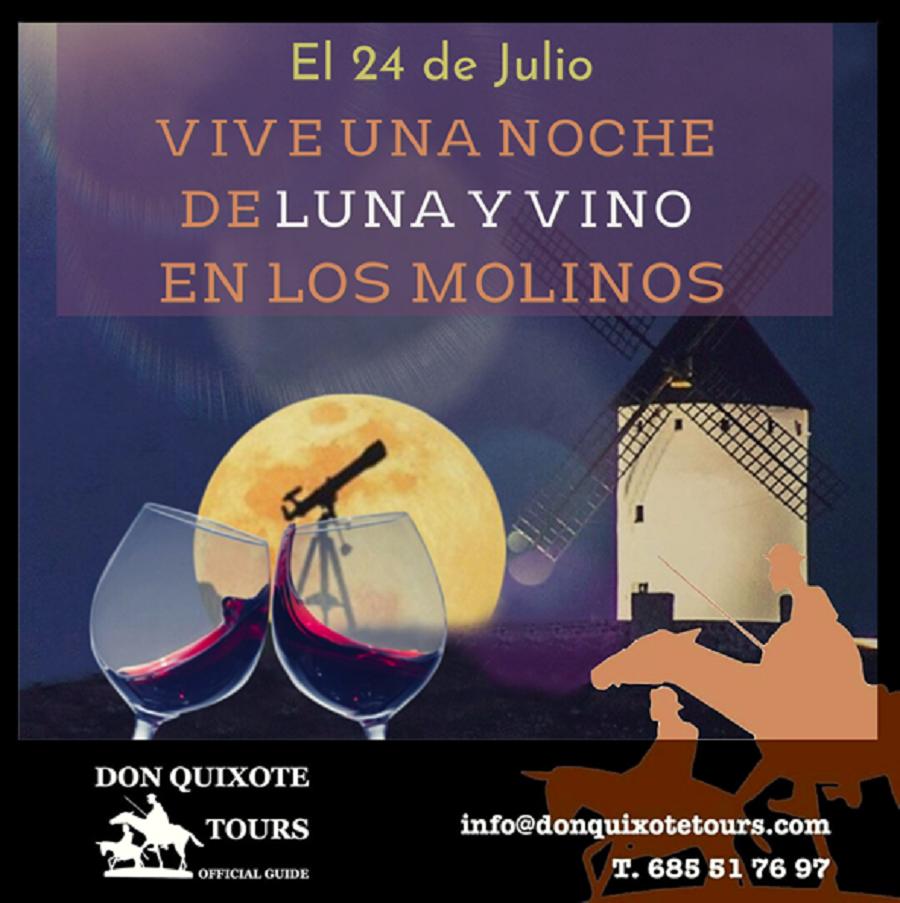 Noche de luna y vino de La Mancha en los molinos de Alcázar de San Juan